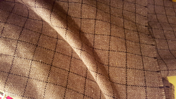 Neutral windowpane plaid wool - from the 2018 Grandmother's charity fabric sale in Calgary