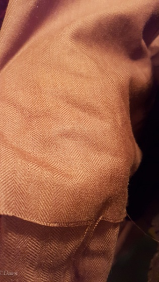 A brown herringbone twill weave wool fabric from the Grandmother's charity Fabric Sale in Calgary, April 2018