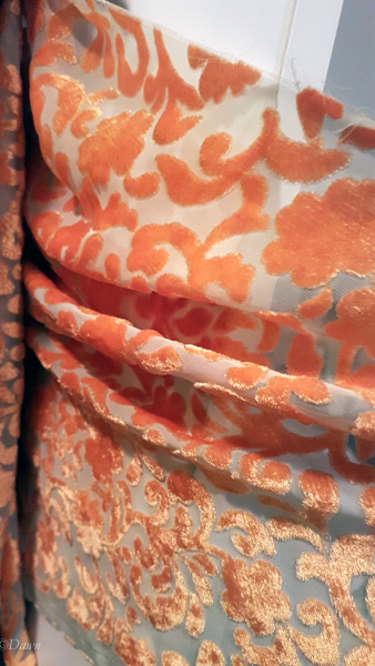 Sheer devore-style velvet in gold and yellow (looks more orange in this photo). I got this also at the 2018 Grandmother's Fabric Sale.