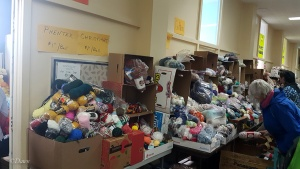 One of the many piles of yarn at the 2018 Grandmother's charity Fabric Sale