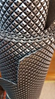 """""""Studded"""" silver PVC from the Grandmother's Fabric sale for charity - April 2018"""
