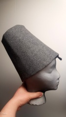 finished packable Burgundian truncated hennin on my foam head. The wired headband loop sits closer to my forehead than it does on the foam.