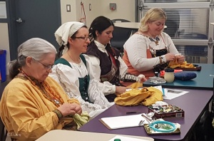 Participants in the Renaissance Handstitching class at Grand TUA 2018