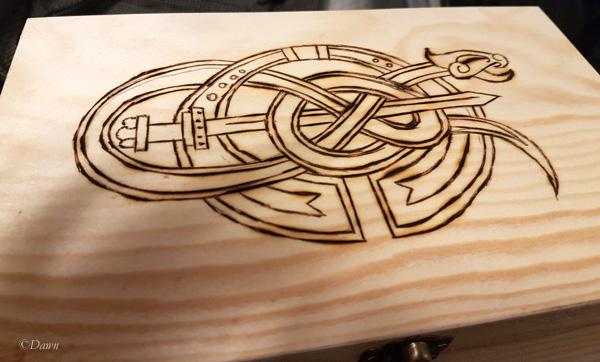 The box I did wood burning on at the class at Borealis Yule.