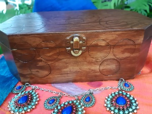 Simple circles on the woodburned box for my Ottoman Empire Turkish costume elements.