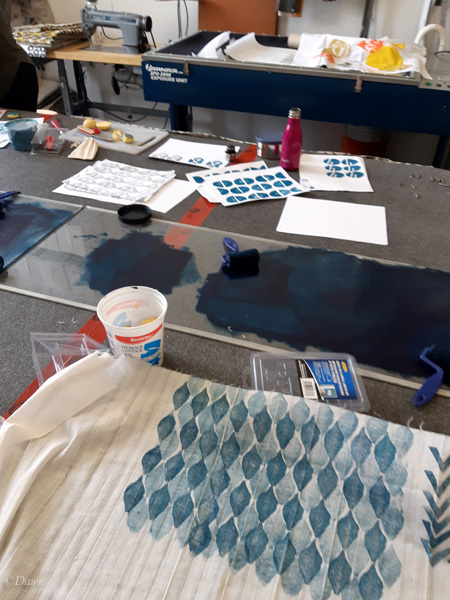 Working on some potato block printing at Alberta Culture Days