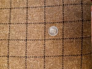 Rustic windowpane plaid wool blend fabric for sale