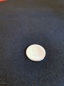Black Imitation Linen. Quarter for scale of the texture
