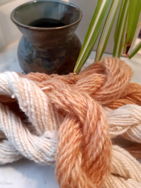 Finished apple leave and twig-dyed wool yarn showed with undyed yarn for comparison.