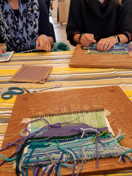 Group tapestry project at Alberta Culture Days 2018