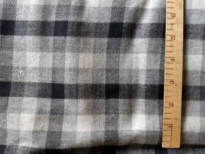 Black & grey buffalo plaid wool fabric for sale