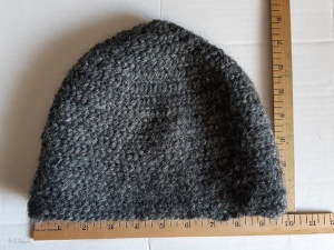 Back of the ribbed-front naalbound hat