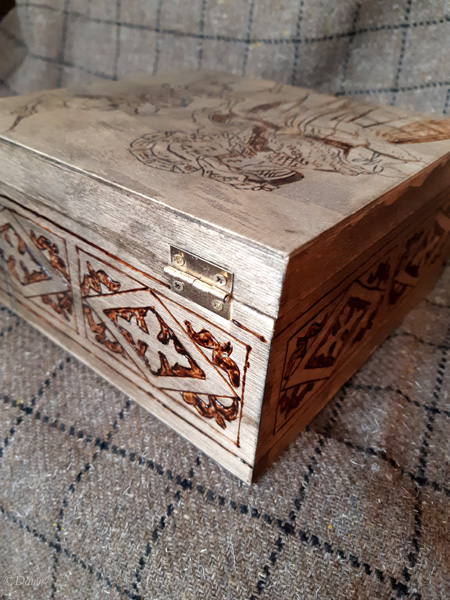 Back of the German Renaissance themed Pyrography box for my costume bling