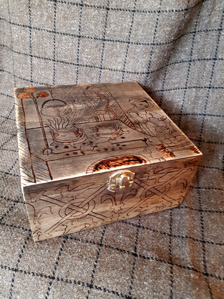 Pyrography medieval kitchen box