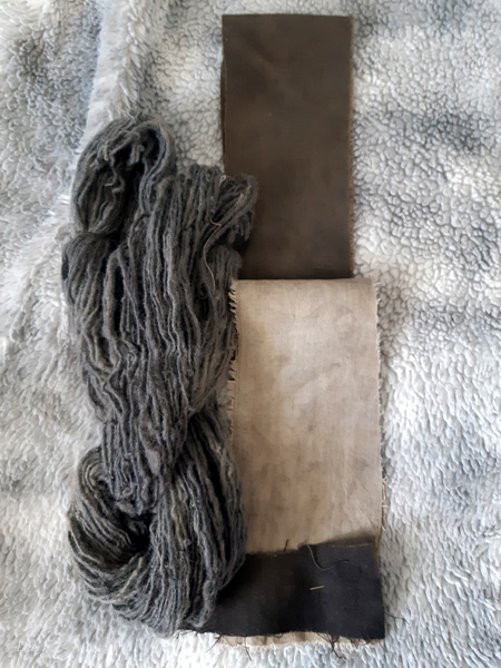 Wool, silk, and linen pre-mordanted with oak galls, and then modified with iron