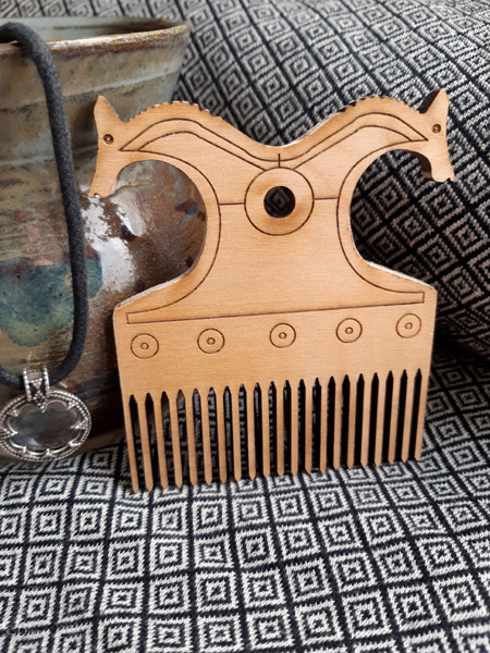 Horse head viking-style comb. This is before they were stained or varnished - they were just cute as-is!