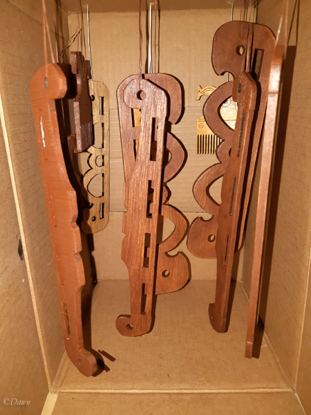 Hanging handles (and some other items... stay tuned!) to dry after staining.