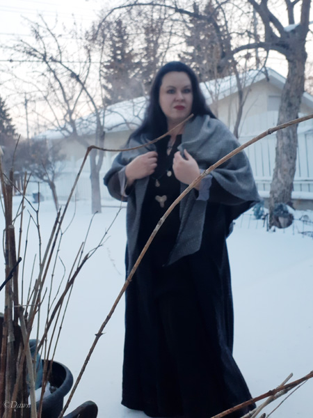 Selfie wearing my new diamond twill style shawl with other elements of my Viking Age reenactment kit