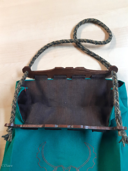 The larger Hedeby-style bag open to access the contents.