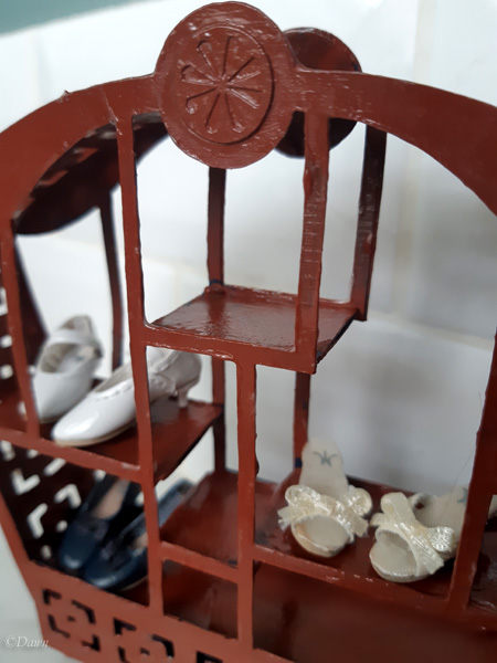 Miniature Asian-inspired paper shelf for my friend's doll display