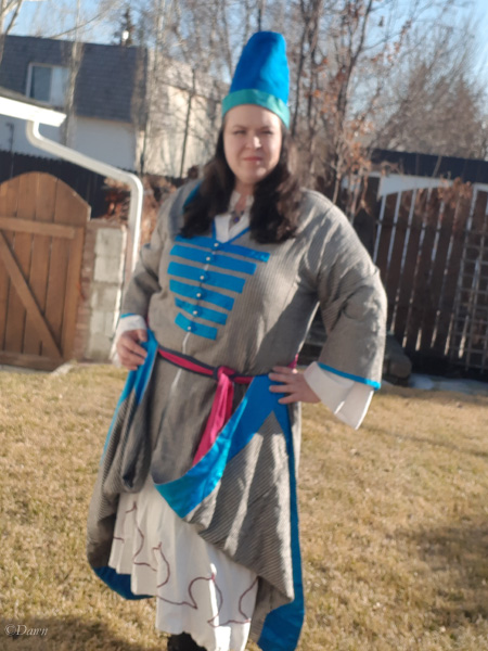 Finished striped Entari worn with other elements of my Ottoman costume.