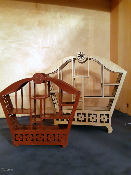 Wood and paper Asian-inspired miniature doll shelves