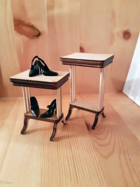 Both of the side tables I made for my doll-collecting friend.