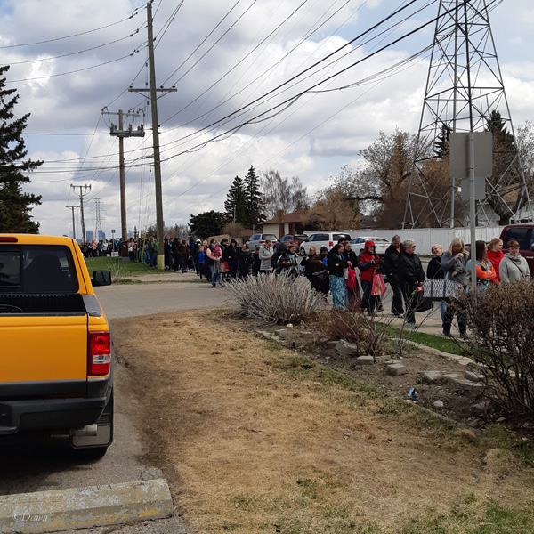 Looking back at the line up to get into the 2019 Grandmother's Fabric Sale in Calgary