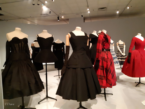Afternoon and evening dresses from Dior, in the Glenbow exhibit
