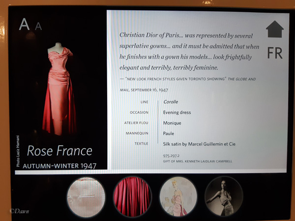Rose France Dior evening gown digital display
