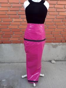 Lightweight hot pink PVC hobble skirt