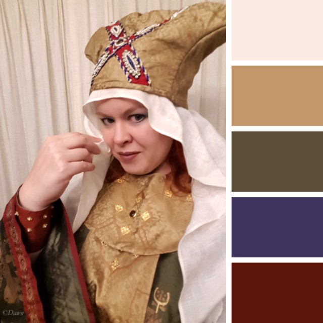 photo of my Byzantine costume with a palette generated by coolors.co