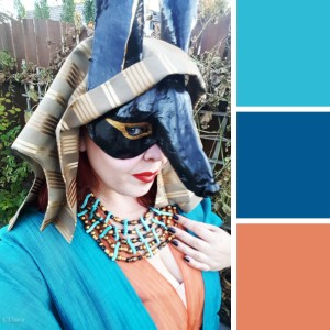 Photo of my Egyptian costume (with my Anubis mask) and a generated colour palette.