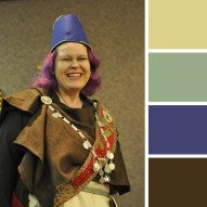 Photo of my Finnish Iron Age costume with a palette generated from the main colours