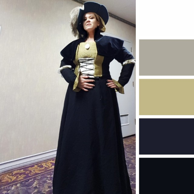 Photo of me in my German costume, with a colour palette generated beside it
