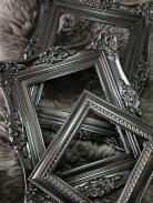 black spray-painted frames