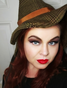 wearing the first witchy-sherlock style hat I made - it's a bit smaller, so I needed to make a second!