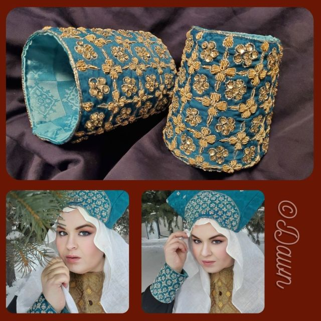 Collage showing my new teal Byzantine costume cuffs and matching hat