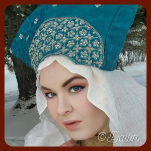Teal hat for my Byzantine costume wardrobe