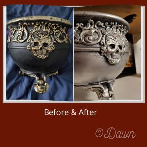 Before and after of a Halloween craft store cauldron