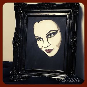 Finished self-portrait in my beautiful painted frame!