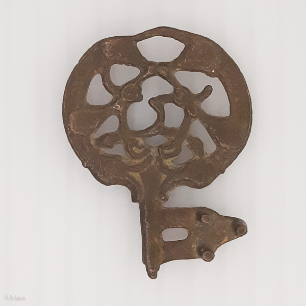 Bronze key with circular openwork handle with animal decoration from Ribe, Denmark 800-950 CE
