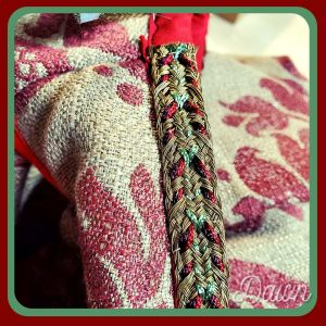 Gorgeous braid in gold, green, red, and dark red/purple for my damask sideless surcote
